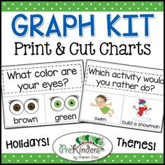 Print and cut these 36 graphs for simple and quick large group activities!Includes holidays and themes. Whole group Math and Literacy.You can laminate and reuse these each year in a pocket chart, or print and glue to chart paper.Themes & Holidays included:SchoolAll About MeFamilyFarmRainforestFairy TaleBugsSpacePetsOceanCommunity HelpersDinosaursSeeds & PlantsWild AnimalsTransportationApplesFallForest AnimalsHalloweenPumpkinsThanksgivingWeatherWinterShoesKitesGingerbreadChristmasValen...