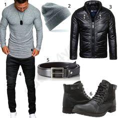 Cooles Herren-Outfit mit grauem Amaci&Sons Longsleeve, Beechfield Mütze, schwarzer Lederjacke, Merish Jeans, schmalem Ledergürtel und Bullboxer Stiefeln. #outfit #style #herrenmode #männermode #fashion #menswear #herren #männer #mode #menstyle #mensfashion #menswear #inspiration #cloth #ootd #herrenoutfit #männeroutfit