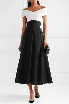PREEN BY THORNTON BREGAZZI Virginia off-the-shoulder stretch-cady midi dress