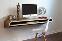 Minimal Wall Desk | Walnut | Large | Ideal for Home Office Modern Home Office Desk, Computer Desks For Home, Home Desk, Modern Desk, Desk Office, Small Computer, Office Furniture, Gaming Desk, Desks For Small Spaces