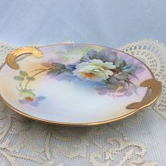Noritake,Hand Painted Antiuqe Platter,Rose, Handled,Gold,Collectible Plate Japan #Noritake