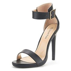 DREAM PAIRS ELEGANTEE Women's Evening High Heels Open Toe Ankle Strap Platform Casual Stiletto Pumps Sandals BLACK PU SIZE 11... Open-toe heels are designed in smooth vegan leather and feature a wide single toe strap, exposed sides, and an adjustable buckled ankle strap. Finished with a stiletto heel and a ridged sole.FITTING TIPS: TRUE TO SIZE, WIDE WIDTH CUSTOMERS ORDER HALF SIZE UP.Heel height: 4.5″ (approx, may......http://bit.ly/2kLxUM0