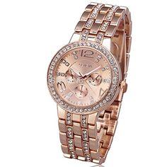 SunShine Day 2015 New Fashion Geneva Business Rhinestone Gold Full Steel Men Women High Quality Luxury Classic Wrist Dress Quartz Watch *** Want additional info? Click on the image.