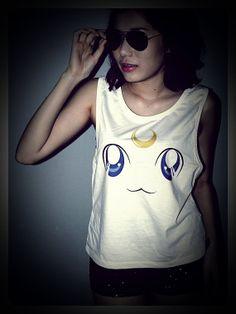 Silk screen Artemis Cat Sailor Moon (I want a luna one & a white and black mokona shirts too)