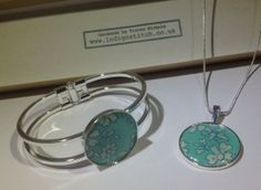 Silver Plated Pendant and matching Bangle by indigostitch on Etsy, £20.00