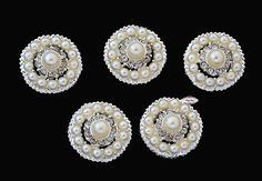 5 Rhinestone Pearl Flat back Buttons  Pearl by simplysassysource, $7.50