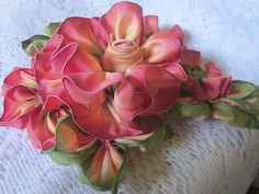 French Ombre Vintage Style Millinery Ribbon Flower Pin~ Ribbonwork~Cluster