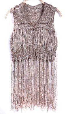 Khaki Sequined Tassel Hem Knitted Cardigan