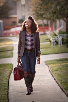 Plaid shirt from Juicy Couture Plaid blazer from Dillard's, old Belt from Talbots, old Denim pants Over the knee riding boots by Vince Camuto Hair and Face @MalaikaCherie in the U.S, thanks for your fervent commitment The gorgeous handbag was a custom gift to me by a very special couple/clients @LekeandOlatoy. Thank you so much, this bag was the perfect gift! I enjoyed designing and producing your wedding collateral :)) Photography @Forever Day Photos of Forever Day Photo