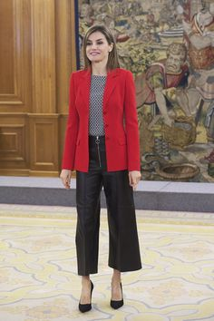 Queen Letizia wore a red blazer and palazzo pants in April in Madrid.