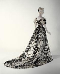 House of Worth (French, 1858–1956).  amazing beautiful iron scroll work inspired fabric.  GREAT!