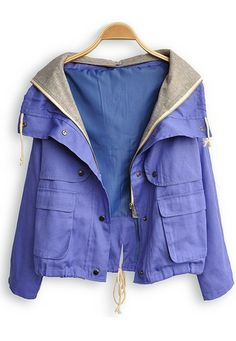 Purple Hooded Long Sleeve Buttons Coat. This would be perfect if it were really, really, really lightweight.