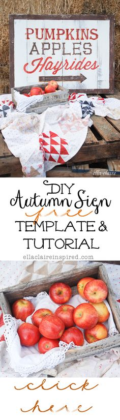 Lovely DIY Autumn Sign~ Free Template and easy to follow Tutorial!