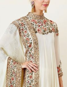 Ivory Asymmetric Kurta Set with Thread Embroidery impressive Pakistani Bridal Dresses, Pakistani Dress Design, Pakistani Outfits, Indian Outfits, Pakistani Party Wear, Indian Wedding Dresses, Pakistani Kurta, Beautiful Pakistani Dresses, Pakistani Dresses Online