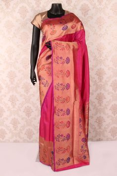 Hot #pink pure #banarasi silk fashionable #saree with antique gold multicoloured border -SR12081