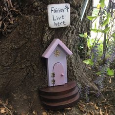 Tall fairy door Purple shades Fairy door for your by WoodenBLING