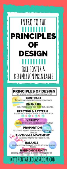 of Design In Art- A Printable for Kids Build a foundation of knowledge by introducing basics such as these principles of design.Build a foundation of knowledge by introducing basics such as these principles of design. Middle School Art, Art School, High School, Art Class Posters, Principals Of Design, Graphic Design Lessons, Intro To Art, Elements And Principles, Art Elements