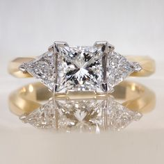 Princess 3-stone Engagement Ring with Trillion Diamond Side Stones - Yellow Gold Shank and Platinum Framed Setting