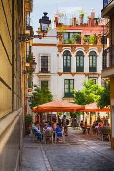 Beautiful and romantic streets of the old quarter of Seville, Spain