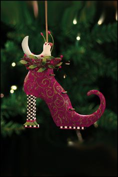 Krinkles by Patience Brewster - Doves in Boot Tin Ornament -- idea: pillow, printed fabric side and felt side