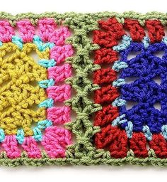 Simulated braid join  This method simulates a braid join and is accomplished by crocheting pre-edged blocks together. It's fast and easy but uses more yarn and creates a ridge on the back between squares.