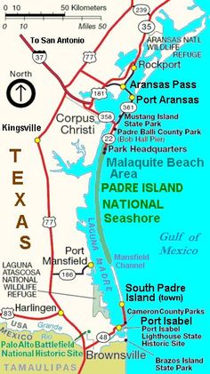 Map of Padre Island National Seashore Texas Vacations, Texas Roadtrip, Texas Travel, Family Vacations, Family Travel, Beach Vacations, Rv Travel, Vacation Places, Cruise Vacation