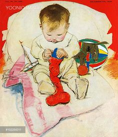 A toddler with a Christmas stocking, by Muriel Dawson.
