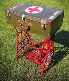 Custom table repurposed from #vintage WWII military first aid storage case and New Companion sewing machine iron base. This would look really cool in an #industrial themed room.