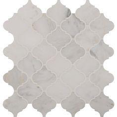 Bathroom Shower Walls- MS International Greecian White Arabesque 12 in. x 10 mm Polished Marble Mesh-Mounted Mosaic Floor and Wall Tile sqft./case)-GRE-AREBESQ - The Home Depot Mosaic Wall Tiles, Bath Tiles, Marble Mosaic, Stone Mosaic, Honed Marble, Mosaics, Arabesque Tile Backsplash, Motif Arabesque, Thing 1