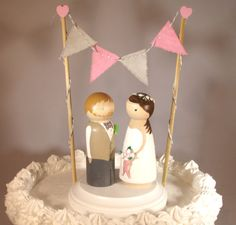 Triangle Bunting with Custom Large Size Cake Topper Includes Bunting, Base, and 3D Bride and Groom