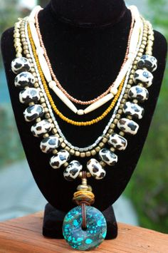 Custom Exotic Giraffe Print, Bone, African Metal and Turquoise Donut Multi-Strand Pendant Necklace