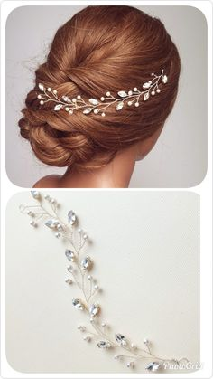 Bridal Hair Vine, Wedding Hair Piece, Crystal Vine, Leaf Vine, Hairpiece, Headpiece, Etsy.