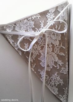 Vintage Lace Triangle Burlap by weddingdesire
