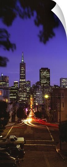 Colonial building light-up at night, Transamerica Pyramid And Columbus Tower, San Francisco, California  -  33x90