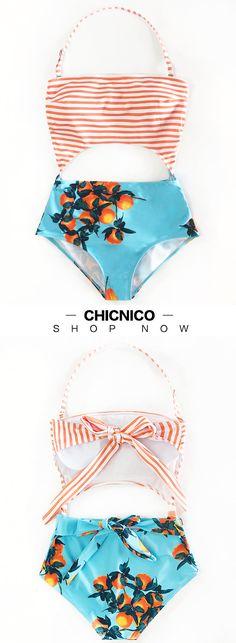 f20789d2 $26.99 2018 Chicnico Cute Orange Print One Piece Fashion Swimsuit Cute  Bikinis, Cute Swimsuits,