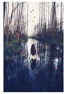 Would love to do a shoot inspired by this photo.  Woods, water & reflection
