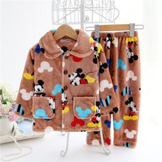 6a384fd284 MAGGIE'S WALKER Children Coral Fleece Pajamas Warm Cartoon Mickey Mouse  Kids Boys Girls Sleepwear Baby Girls Clothing Set