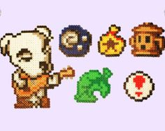 animal crossing perler beads | Animal Crossing Perler Magnets, Nec klaces and Keychains! K.K. Slider ...