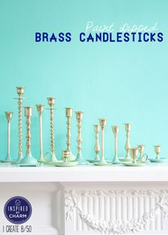 12 DIY Candle Holders: Paint-Dipped Brass Candlesticks - also do with odd glass candle holders Diy Candle Holders, Diy Candles, Scented Candles, Easy Crafts, Diy And Crafts, Inspired By Charm, Paint Dipping, Shabby, Diy Painting