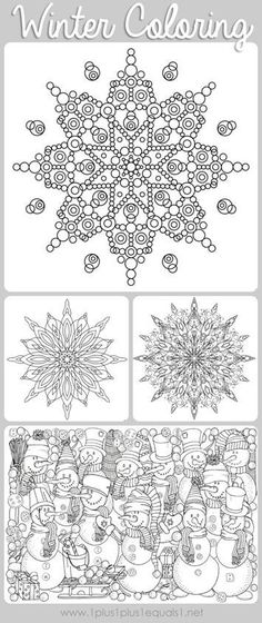 Winter Doodle Coloring Pages ~ free coloring printables featuring snowmen, snowflakes and adorable winter scenes! Great for kids or adults to color!
