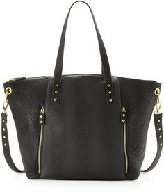 Neiman Marcus Snake-Embossed Center Tote Bag, Black on shopstyle.com