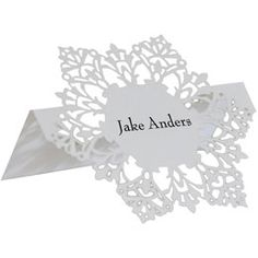 Unique and Elegant Laser Cut Place Cards Perfect for a Holiday Party; The Style is Snowflake