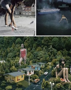 Julia Fullerton-Batten did not need edit her photos in creating these incredibly strange suburban and city scenes featuring models spectacularly out of scale with their surroundings, giants in the streets.
