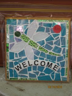 Mosaic Welcome Sign - Dragonfly