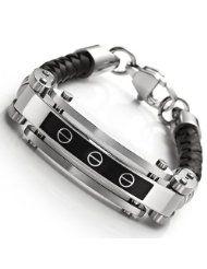 R&B Bijoux - Bracelet Homme Solide - Plaque Gourmette Style Vis - Cuir Véritable Acier Inoxydable (Noir, Argent). 34,90€