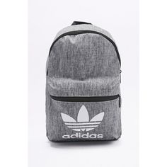 adidas Originals Grey Melange Backpack (12.515 HUF) ❤ liked on Polyvore featuring bags, backpacks, grey, grey backpack, adidas originals, flat backpack, rucksack bag and gray bag