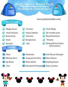 Disney World Backpack, Disney World Packing, Disney World Vacation Planning, Disney World Florida, Disney World Parks, Walt Disney World Vacations, Disney Planning, Disney Worlds, Trip Planning