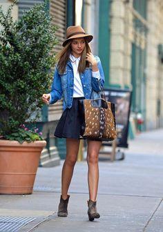 Miranda Kerr - IM denim jacket & Dicker boots, Alexander Wang ponyskin bag, Rag & Bone hat, Miu Miu sunglasses