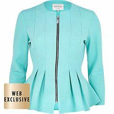 Aqua blue textured jersey jacket