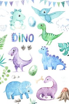 This collection of Watercolor Dinosaurs includes cute little and big dino Tricer. - This collection of Watercolor Dinosaurs includes cute little and big dino Triceratops, Diplodocus, -